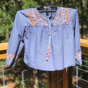 Rebellion Embroidered Tribal Print Chambray Top L